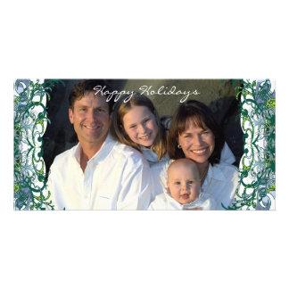 Happy Holidays Retro Lime Trees Family Photo Card