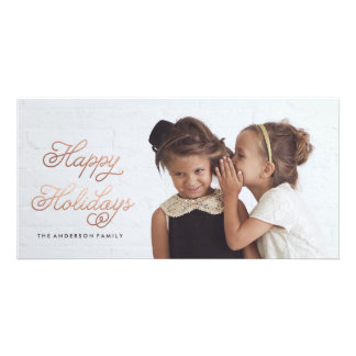 HAPPY HOLIDAYS ROSE GOLD Christmas Photo Card