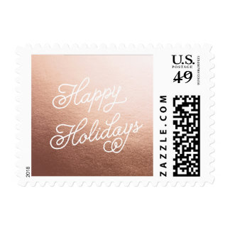 HAPPY HOLIDAYS ROSE GOLD Christmas Postage