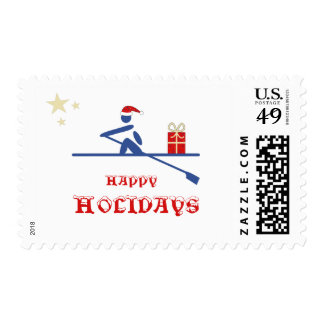 Happy holidays rower bringing gift postage