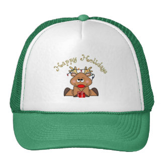 Happy Holidays Rudy Reindeer Hat