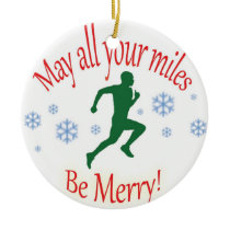 Happy Holidays Runners! Ceramic Ornament