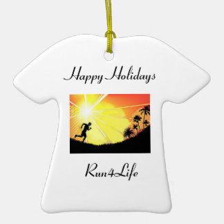 Happy Holidays Runner's T-Shirt Ornament