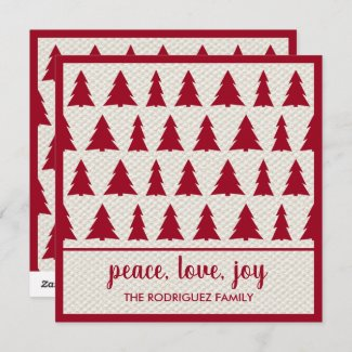 Happy Holidays Rustic Burgundy Beige Tree Pattern Holiday Card