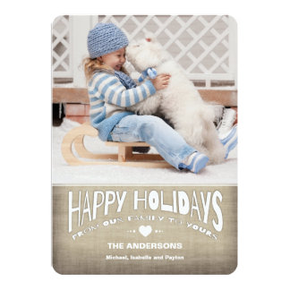 Happy Holidays Rustic Burlap Photo Greeting 5x7 Paper Invitation Card
