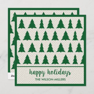Happy Holidays Rustic Green Beige Tree Pattern Holiday Card