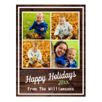 Happy Holidays Rustic Wood Family Photo Collage Postcard