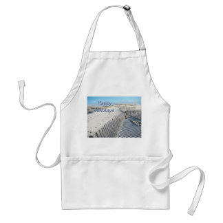 Happy Holidays Sand Dunes and Fences Adult Apron