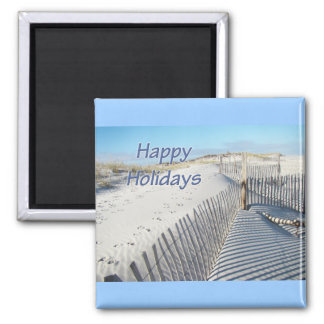 Happy Holidays Sand Dunes and Fences Magnet