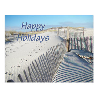 Happy Holidays Sand Dunes and Fences Postcard