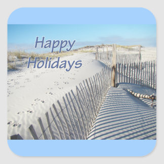 Happy Holidays Sand Dunes and Fences Sticker