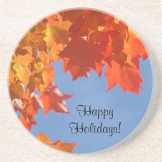 Happy Holidays sandstone coasters Autumn Leaves