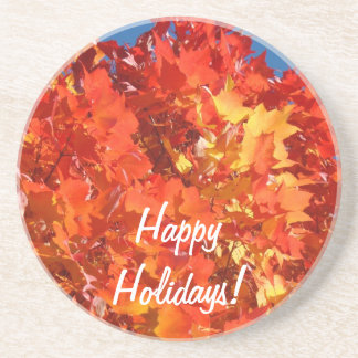 Happy Holidays sandstone coasters Fall Leaves