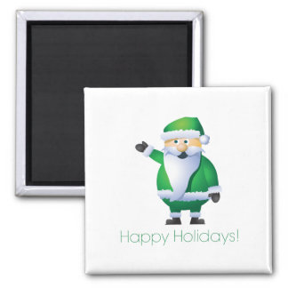Happy Holidays Santa 2 Inch Square Magnet
