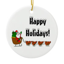 Happy Holidays Santa and Chickens Ceramic Ornament