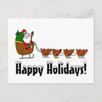 Happy Holidays Santa and Chickens Holiday Postcard