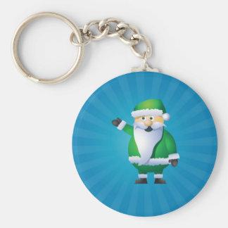 Happy Holidays Santa Basic Round Button Keychain