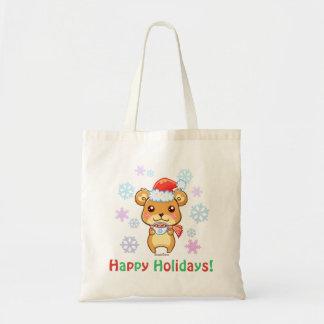 Happy Holidays Santa Bear Tote Bag
