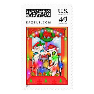 Happy Holidays Santa Cats Postage Stamp