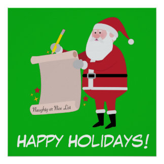 Happy Holidays Santa Checking Naughty or Nice List Poster