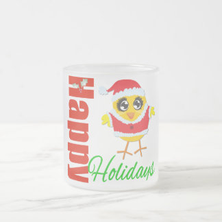 Happy Holidays Santa Chick 10 Oz Frosted Glass Coffee Mug