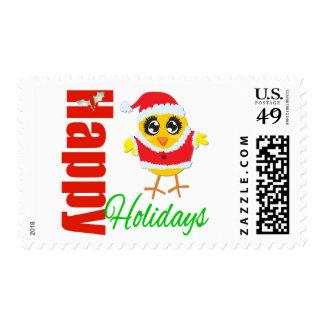 Happy Holidays Santa Chick Postage Stamp