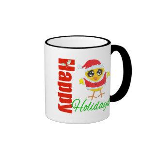 Happy Holidays Santa Chick Ringer Coffee Mug