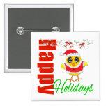 Happy Holidays Santa Chick v2 Buttons