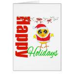 Happy Holidays Santa Chick v2 Greeting Cards