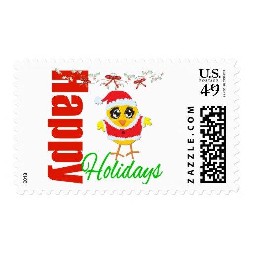 Happy Holidays Santa Chick v2 Stamps