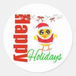 Happy Holidays Santa Chick v2 Stickers