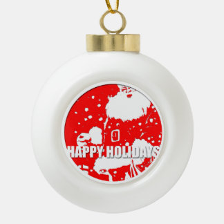 Happy Holidays - Santa Claus Ceramic Ball Ornament