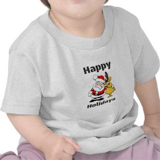 Happy Holidays Santa Claus Reindeer Hug Tee Shirts