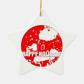 Happy Holidays Santa Claus Star Ornament 1