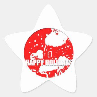 Happy Holidays - Santa Claus - Star Sticker