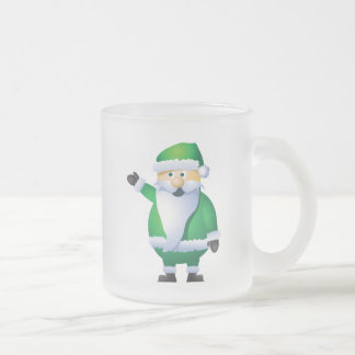 Happy Holidays Santa Frosted Glass Coffee Mug