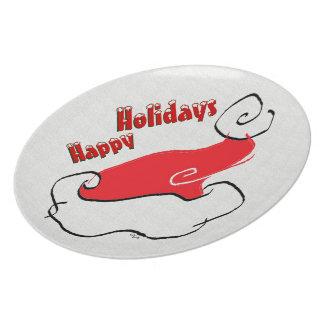 Happy Holidays Santa Hat Plate