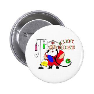 HAPPY HOLIDAYS SANTA NURSE PINBACK BUTTONS