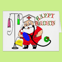 HAPPY HOLIDAYS SANTA NURSE CAP, IV, FOLEY, AMBU ST CARD