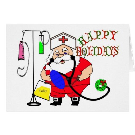 HAPPY HOLIDAYS SANTA NURSE CARD