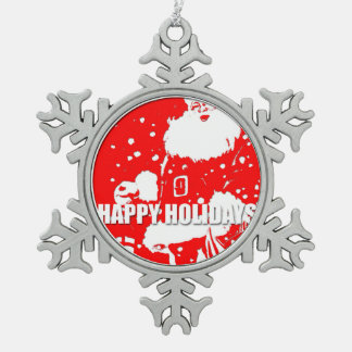 Happy Holidays - Santa Pewter Snowflake Ornament
