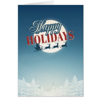 Happy Holidays-Santa Reindeers Christmas Card