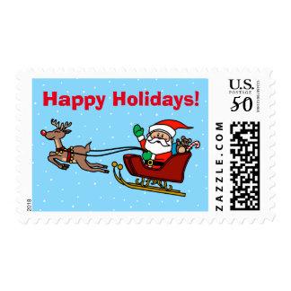 Happy Holidays Santa & Rudolph on Sleigh Postage
