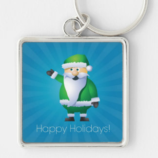 Happy Holidays Santa Silver-Colored Square Keychain