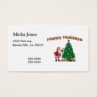 Happy Holidays Santa & Tree Business Card