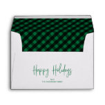 Happy Holidays Script 5x7 Green Buffalo Plaid Envelope