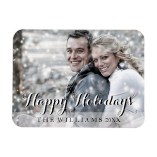 HAPPY HOLIDAYS Script Modern Christmas Photo Magnet