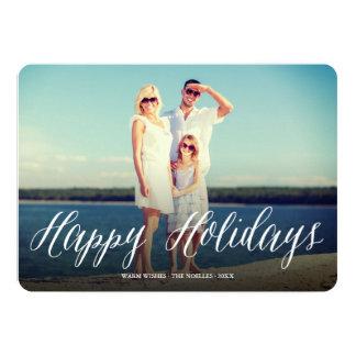 Happy Holidays Script Modern Holiday Photo Card