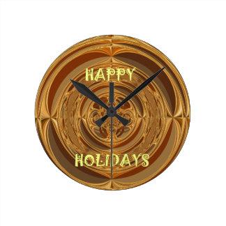 Happy Holidays Seamless Hakuna Matata Seasonal Gif Round Clock