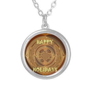 Happy Holidays Seamless Hakuna Matata Seasonal Gif Round Pendant Necklace